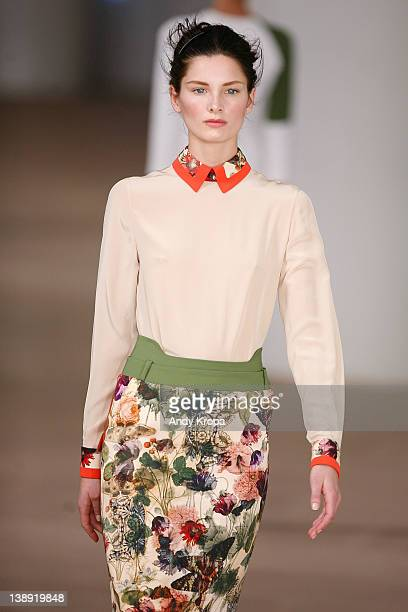 Model walks the runway at the Preen by Thornton Bregazzi fall 2012 fashion show during Mercedes-Benz Fashion Week at the IAC Building on February 13,...