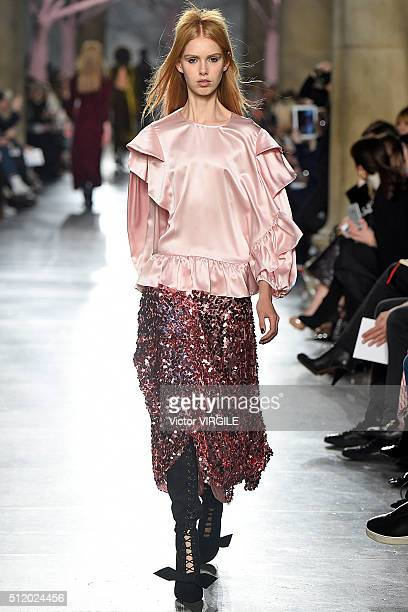 A model walks the runway at the Preen by Thornton Bregazzi fashion show during London Fashion Week Autumn/Winter 2016/2017 on February 21 2016 in...