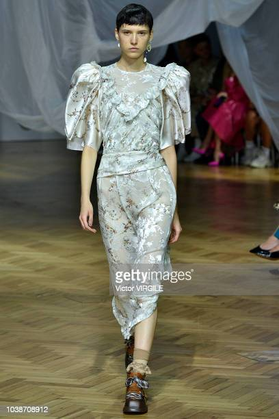 A model walks the runway at the Preen by Thornton Bregazzi Ready to Wear Spring/Summer 2019 fashion show during London Fashion Week September 2018 on...