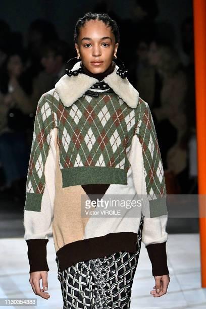 Model walks the runway at the Preen by Thornton Bregazzi Ready to Wear Fall/Winter 2019-2020 fashion show during London Fashion Week February 2019 on...