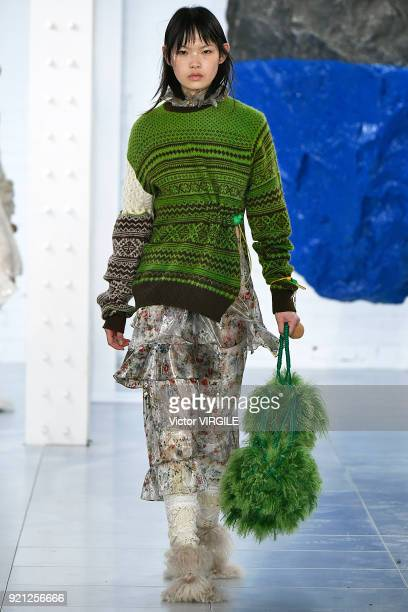 A model walks the runway at the Preen by Thornton Bregazzi Ready to Wear Fall/Winter 20182019 fashion show during London Fashion Week February 2018...