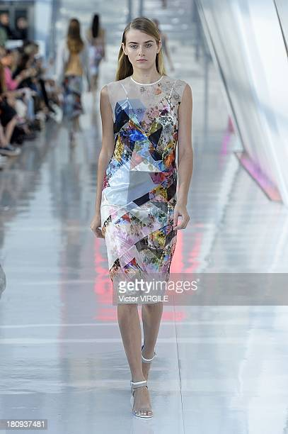 A model walks the runway at the Preen By Thornton Bregazzi show at the Natural History Museum during London Fashion Week Spring Summer 2014 on...