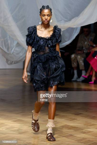 A model walks the runway at the Preen by Thornton Bregazzi show during London Fashion Week September 2018 at XXXX on September 16 2018 in London...