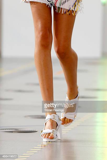 A model walks the runway at the Preen by Thornton Bregazzi show during London Fashion Week Spring Summer 2015 at Fashion Scout Venue on September 14...