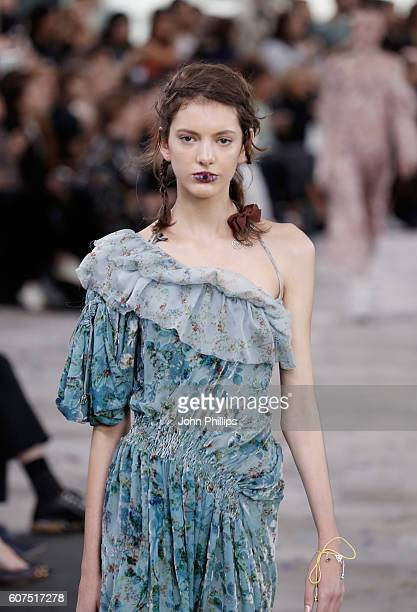 A model walks the runway at the Preen by Thornton Bregazzi show during London Fashion Week Spring/Summer collections 2017 on September 18 2016 in...