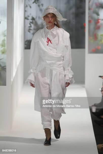 A model walks the runway at the Preen by Thornton Bregazzi show during London Fashion Week September 2017 on September 17 2017 in London England