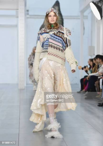 A model walks the runway at the Preen by Thornton Bregazzi show during London Fashion Week February 2018 at on February 18 2018 in London England