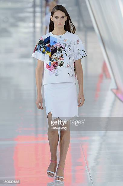 A model walks the runway at the Preen by Thornton Bregazzi Spring Summer 2014 fashion show during London Fashion Week on September 15 2013 in London...