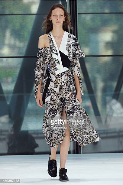 A model walks the runway at the Preen by Thornton Bregazzi Spring Summer 2016 fashion show during London Fashion Week on September 20 2015 in London...