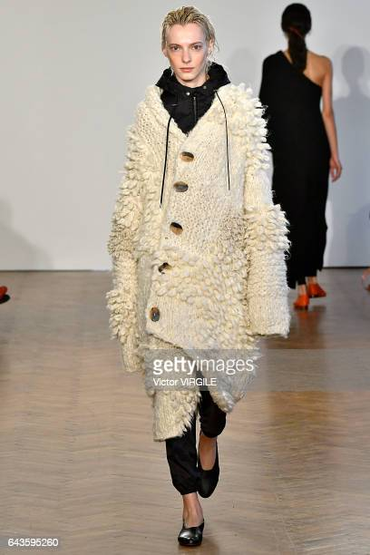 A model walks the runway at the Pringle of Scotland Ready to Wear Fall Winter 20172018 fashion show during the London Fashion Week February 2017...