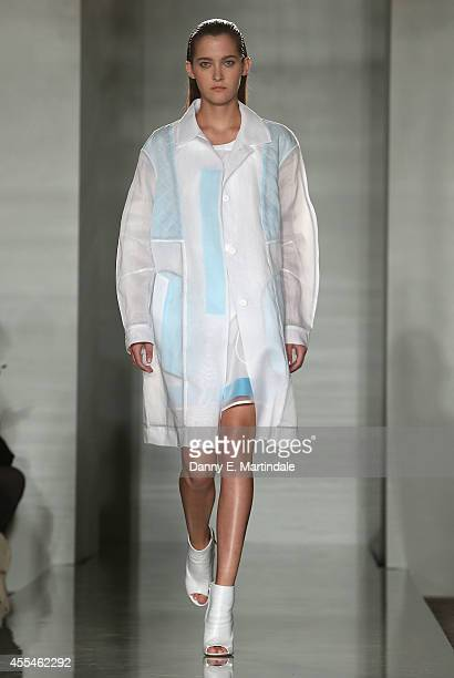 A model walks the runway at the Pringle Of Scotland show during London Fashion Week Spring Summer 2015 on September 14 2014 in London England