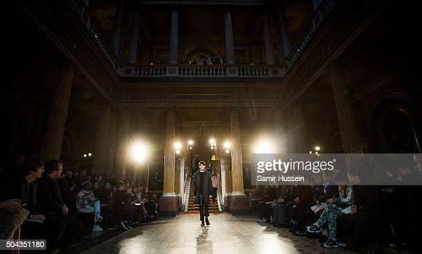 A model walks the runway at the Pringle Of Scotland show during The London Collections Men AW16 at on January 10 2016 in London England