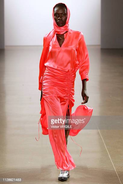 A model walks the runway at the PriscaVera Ready to Wear Fall/Winter 20192020 fashion show during New York Fashion Week on February 9 2019 in New...