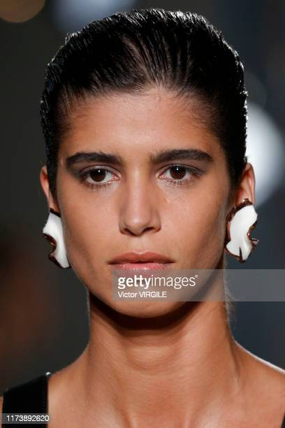 Model walks the runway at the Proenza Schouler Ready to Wear Spring/Summer 2020 fashion show during New York Fashion Week on September 10, 2019 in...