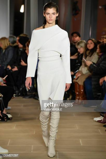 Model walks the runway at the Proenza Schouler Ready to Wear Fall/Winter 2020-2021 fashion show during New York Fashion Week on February 10, 2020 in...