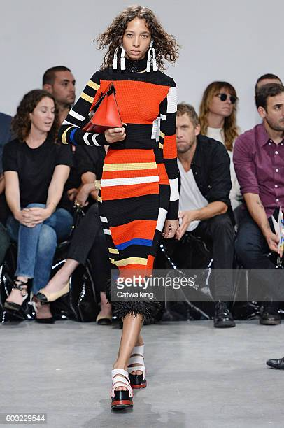 A model walks the runway at the Proenza Schouler Spring Summer 2017 fashion show during New York Fashion Week on September 12 2016 in New York United...