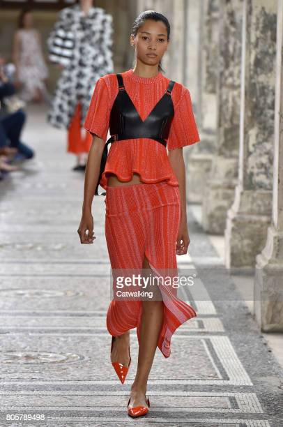 A model walks the runway at the Proenza Schouler Spring Summer 2018 fashion show during Paris Fashion Week on July 2 2017 in Paris France