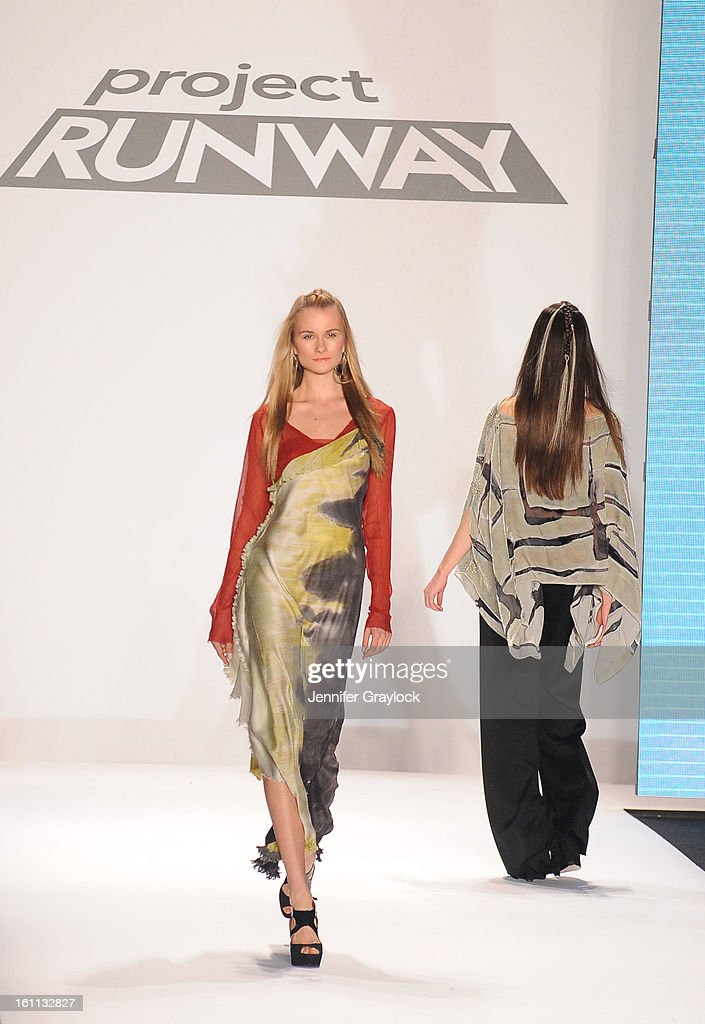 A model walks the runway at the Project Runway Fall 2013 fashion show during Mercedes-Benz Fashion Week held at The Theatre at Lincoln Center on February 8, 2013 in New York City.
