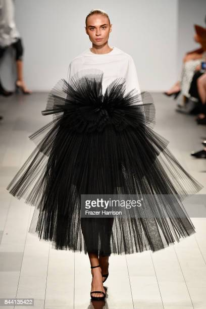 A model walks the runway at the Project Runway fashion show during New York Fashion Week The Shows at Gallery 1 Skylight Clarkson Sq on September 8...