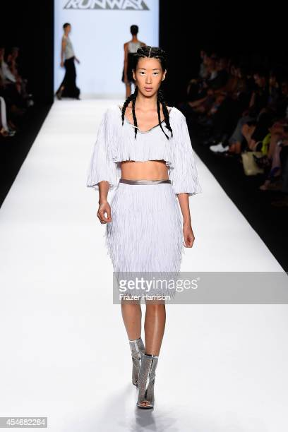 Model walks the runway at the Project Runway fashion show during Mercedes-Benz Fashion Week Spring 2015 at The Theatre at Lincoln Center on September...