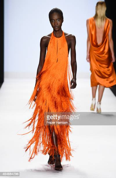 A model walks the runway at the Project Runway fashion show during MercedesBenz Fashion Week Spring 2015 at The Theatre at Lincoln Center on...