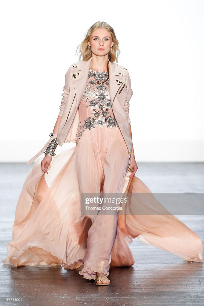 A model walks the runway at the Project Runway Season 14 fashion show at The Arc, Skylight at Moynihan Station on September 11, 2015 in New York City.