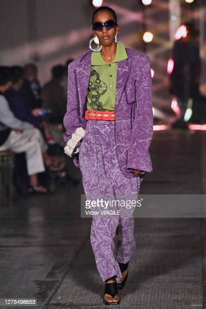 Model walks the runway at the Pronounce Ready to Wear Spring/Summer 2021 fashion show during LFW September 2020 at Printworks on September 21, 2020...