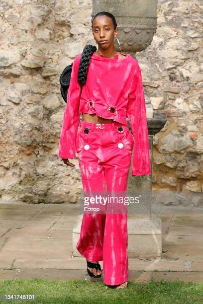 Model walks the runway at the Pronounce show during London Fashion Week September 2021 at Salters Hall on September 21, 2021 in London, England.