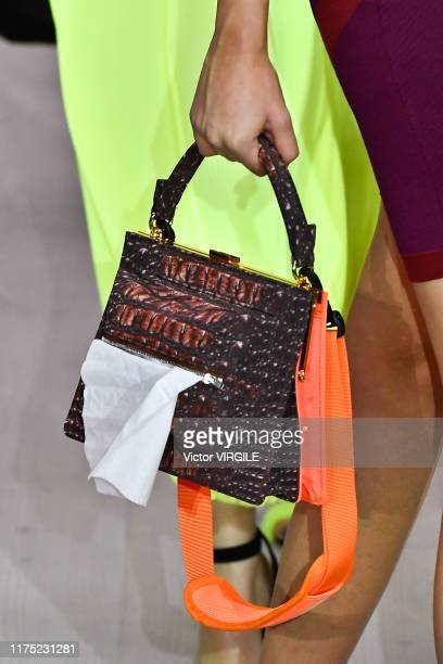 Model walks the runway at the pushBUTTON Ready to Wear Spring/Summer 2020 fashion show during London Fashion Week September 2019 on September 17,...