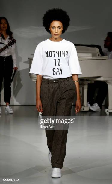 A model walks the runway at the Pyer Moss fashion show during New York Fashion Week on February 14 2017 in New York City