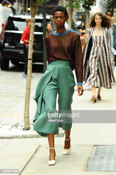 A model walks the runway at the Rachel Comey fashion show during New York Fashion Week September 2016 on September 7 2016 in New York City