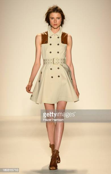 Model walks the runway at the Rachel Zoe fashion show during Mercedes-Benz Fashion Week Spring 2014 at The Studio at Lincoln Center on September 11,...