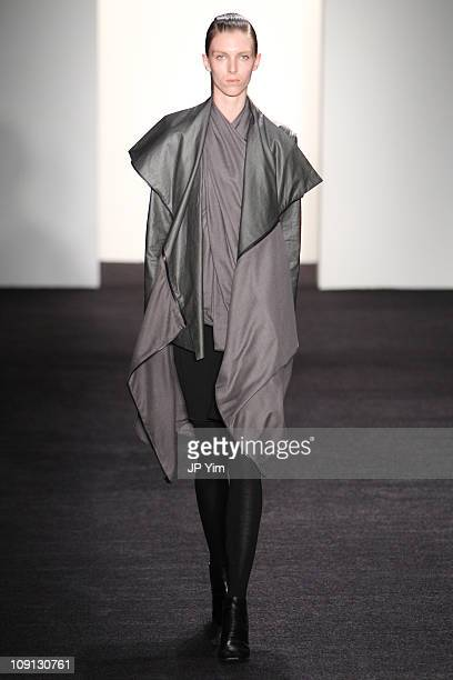 Model walks the runway at the Rad by Rad Hourani Fall 2011 fashion show during Mercedes-Benz Fashion Week at Milk Studios on February 15, 2011 in New...