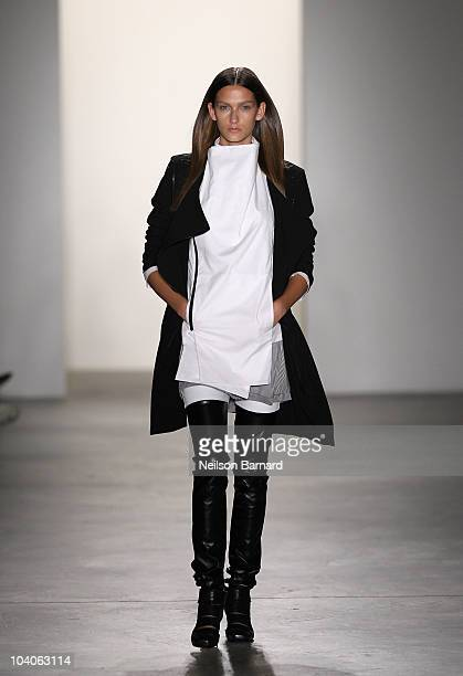 A model walks the runway at the RAD by Rad Hourani Spring 2011 fashion show during MercedesBenz Fashion Week at Milk Studios on September 13 2010 in...