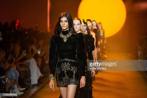 Model walks the runway at the Raisavanessa Ready to Wear Fall/Winter 2020-2021 during New York Fashion Weekcon February 12, 2020 in New York City.