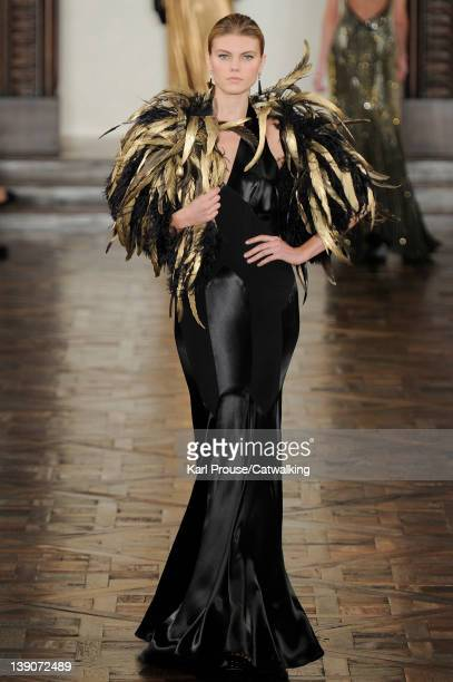 A model walks the runway at the Ralph Lauren Autumn Winter 2012 fashion show during New York Fashion Week on February 16 2012 in New York United...