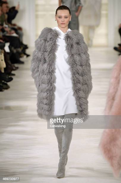 A model walks the runway at the Ralph Lauren Autumn Winter 2014 fashion show during New York Fashion Week on February 13 2014 in New York United...