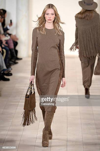 Model walks the runway at the Ralph Lauren Autumn Winter 2015 fashion show during New York Fashion Week on February 19, 2015 in New York, United...