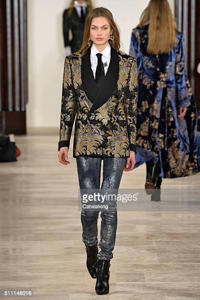 A model walks the runway at the Ralph Lauren Autumn Winter 2016 fashion show during New York Fashion Week on February 18 2016 in New York United...
