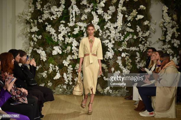 A model walks the runway at the Ralph Lauren Autumn Winter 2017 fashion show during New York Fashion Week on February 15 2017 in New York United...
