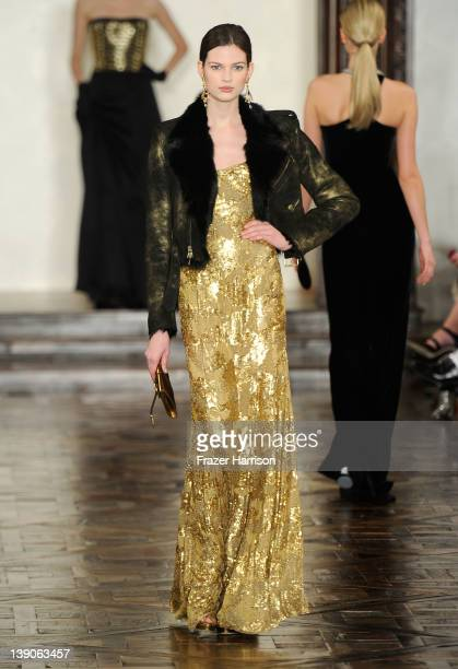 A model walks the runway at the Ralph Lauren Fall 2012 fashion show during MercedesBenz Fashion Week at Skylight Soho on February 16 2012 in New York...