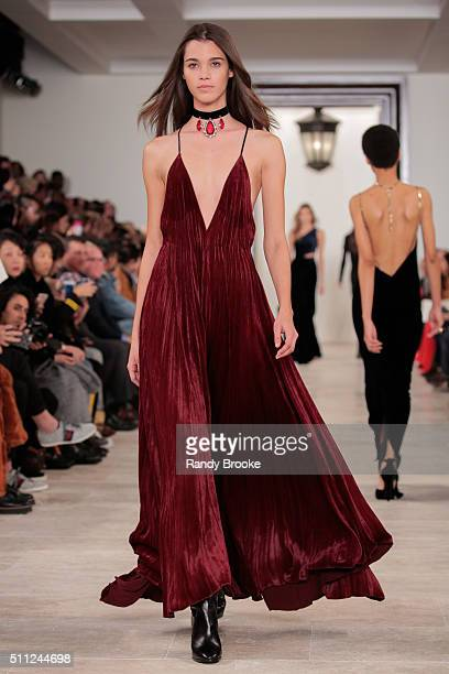 A model walks the runway at the Ralph Lauren Fall 2016 show during New York Fashion Week The Shows at Skylight Clarkson Sq on February 18 2016 in New...