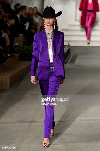 A model walks the runway at the Ralph Lauren fashion show during New York Fashion Week The Shows at Skylight Clarkson Sq on September 14 2016 in New...