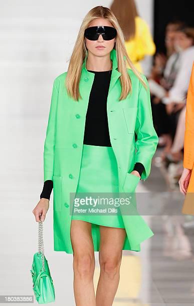 A model walks the runway at the Ralph Lauren fashion show during MercedesBenz Fashion Week Spring 2014 at St John Center Studios on September 12 2013...
