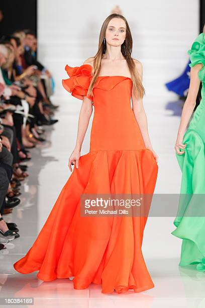 A model walks the runway at the Ralph Lauren fashion show during MercedesBenz Fashion Week Spring 2014 at St John Center Studios on September 12 2013...