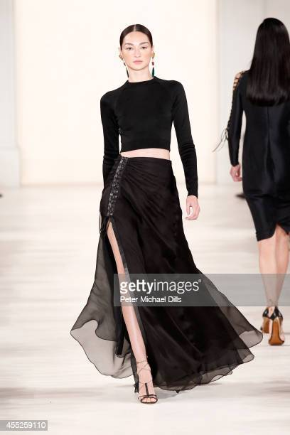 Model walks the runway at the Ralph Lauren fashion show during Mercedes-Benz Fashion Week Spring 2015 at Skylight Clarkson SQ. On September 11, 2014...