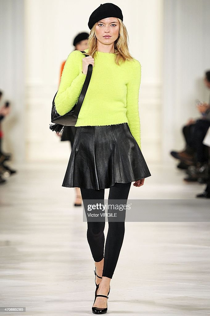 A model walks the runway at the Ralph Lauren Ready to Wear Fall/Winter 2014-2015 fashion show during Mercedes-Benz Fashion Week Fall 2014 at St John Center Studios on February 13, 2014 in New York City.