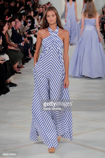 A model walks the runway at the Ralph Lauren Runway Spring 2016 New York Fashion Week The Shows at Skylight Clarkson Sq on September 17 2015 in New...