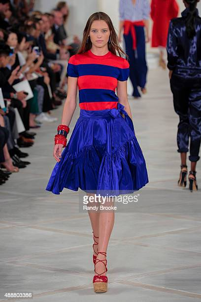 Model walks the runway at the Ralph Lauren show during Spring 2016 New York Fashion Week: The Shows at Skylight Clarkson Sq on September 17, 2015 in...