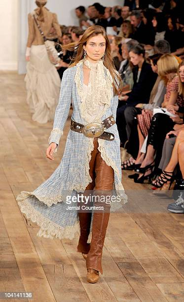 A model walks the runway at the Ralph Lauren Spring 2011 fashion show during MercedesBenz Fashion Week at Skylight Studio on September 16 2010 in New...